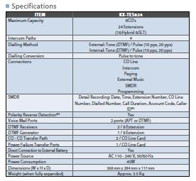 مشخصات سانترال TES